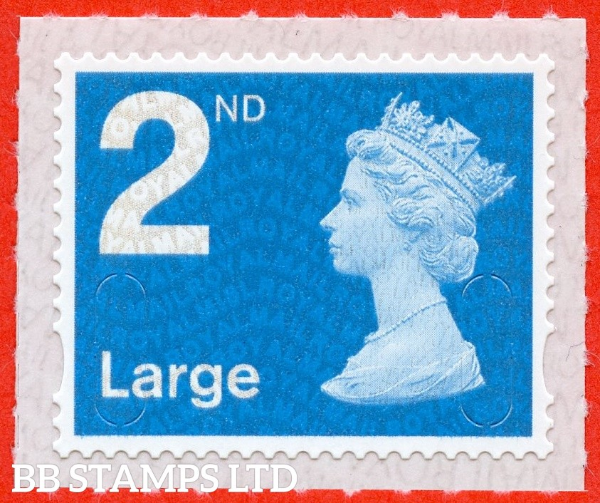 "2nd Class Bright Blue Large. Walsall ""18"", printed backing paper with pairs of lines inverted. (Picture for general reference only; our choice of Ls or sL supplied where both exist.) (Backing not applicable on used.)"