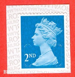 2nd Class Bright Blue 'M18L' MTIL, printed backing paper with pairs of lines inverted. (Picture for general reference only; our choice of Ls or sL supplied where both exist.) (Backing not applicable on used.) (1 stamp only.)