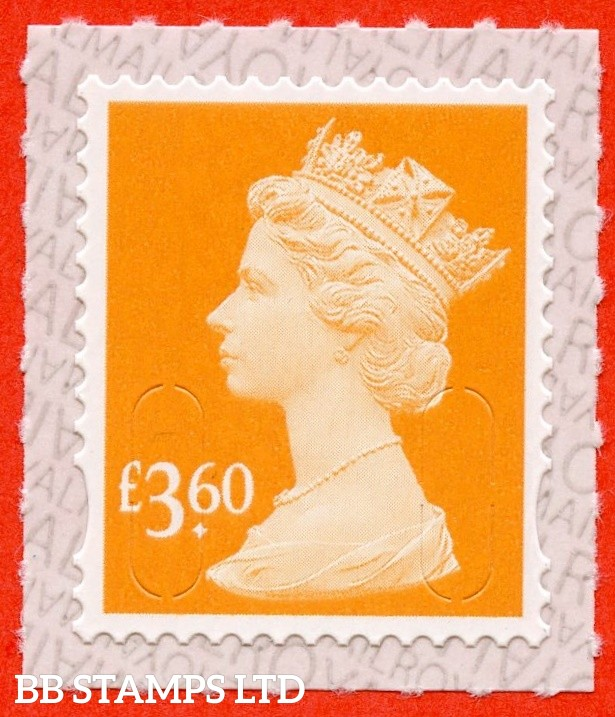 "£3.60 Orange "" M19L "" with pairs of Lines Inverted (Backing not applicable on used.) 19.3.19"