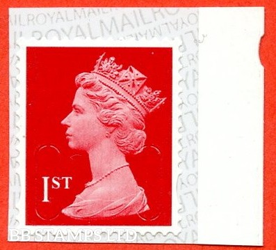 1st Class Bright Scarlet MSIL 'M20L' Royal Mail Backing with alternate 2 Pairs of lines inverted