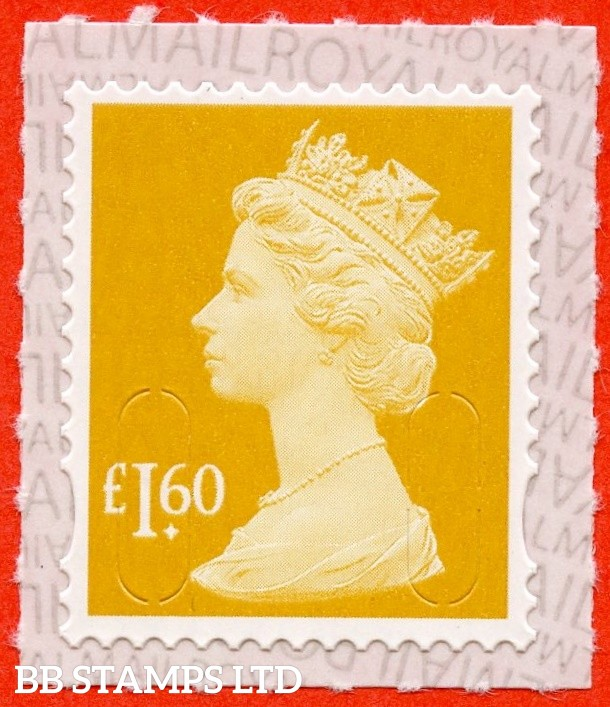 "£1.60 Amber Yellow "" M19L "" with pairs of Lines Inverted (Backing not applicable on used.) 19.3.19"