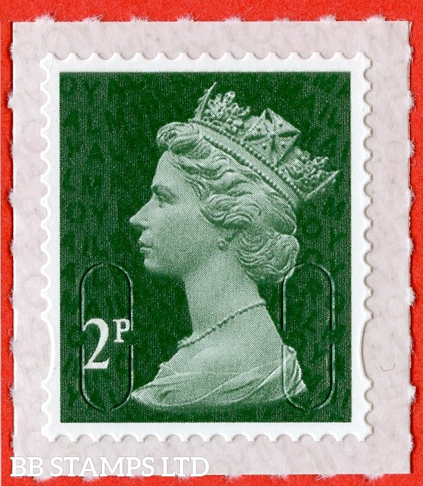 2p Deep Green M18L 'Walsall' Royal Mail Backing with alternate 2 lines inverted. Backing not applicable on used.