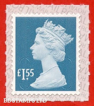 £1.55 Marine Turquoise M19L Royal Mail printed backing paper with pairs of lines inverted.