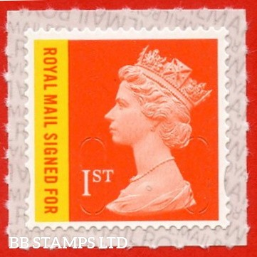 Royal Mail Signed For 1st Class 'M20L', Walsall printed backing paper with pairs of lines inverted. (Picture for general reference only; our choice of Ls or sL supplied where both exist.) (Backing not applicable on used.)