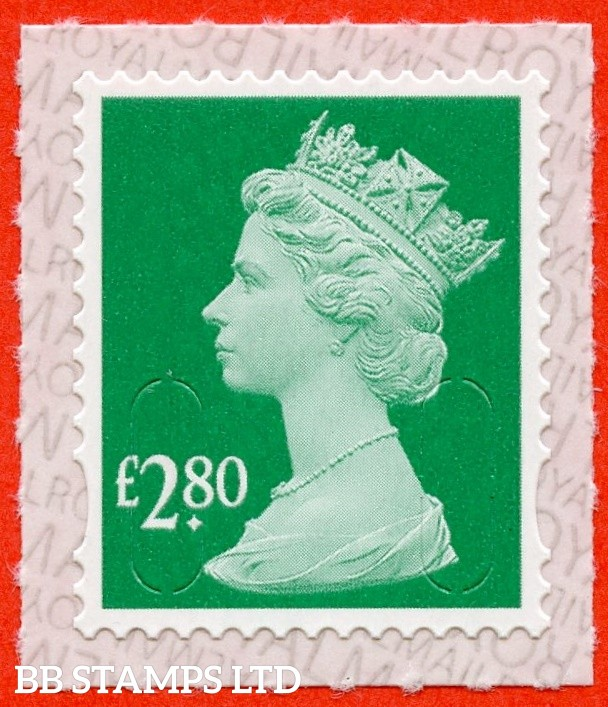 "£2.80 Green "" M19L "" with Pairs of Lines Invterted (Backing not applicable on used.) 19.3.19"