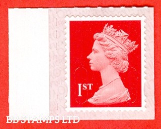 "1st Class Bright Scarlet. Walsall Printing ""M18L"", printed backing paper with pairs of lines inverted. Weak Printing (Backing not applicable on used.)"