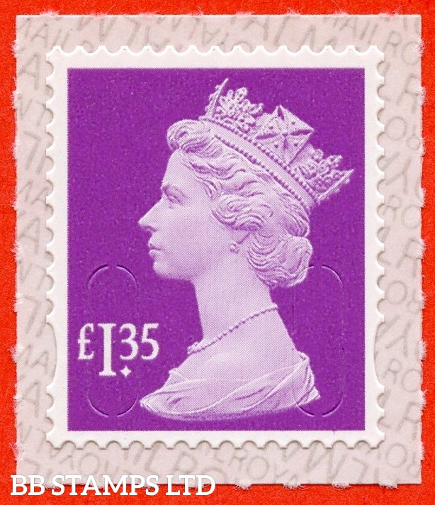 "£1.35 Orchard Mauve "" M19L "" with pairs of Lines Inverted. (Backing not applicable on used.) 19.3.19"