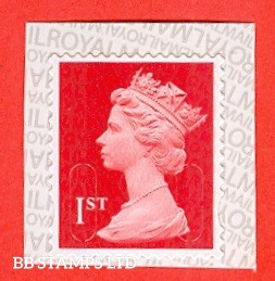 1st Class Scarlet M18L MCIL Royal Mail printed backing paper with pairs of lines inverted (does not apply to used)