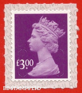 """2019 £3.00 Purple  Walsall """"M19L"""", printed backing paper with pairs of lines inverted. (Picture for general reference only; our choice of Ls or sL supplied where both exist.) (Backing not applicable on used.)"""