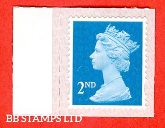 2nd Class Bright Blue. Walsall Printing  M18L MAIL, printed backing paper with pairs of lines inverted. Weak Printing (Backing not applicable on used.)