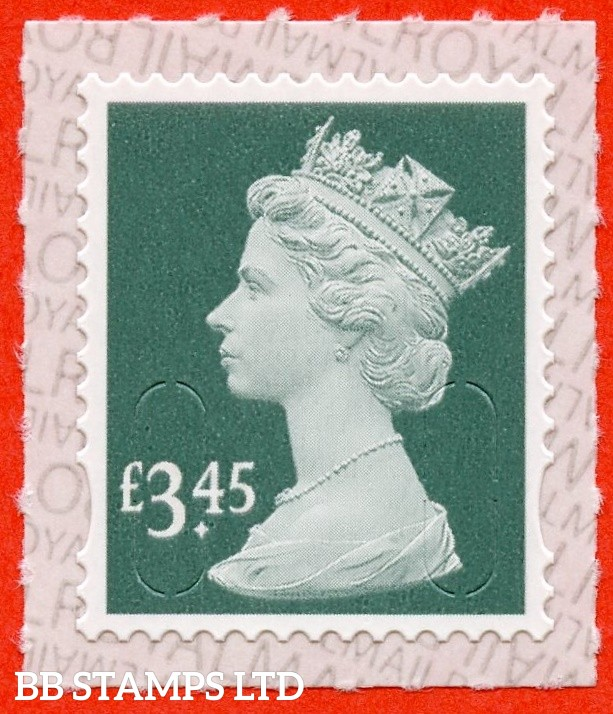 "£3.45 Dark Pine Green "" M19L "" with pairs of Lines Inverted (Backing not applicable on used.) 19.3.19"
