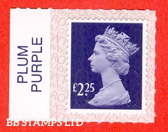 £2.25 Plum Purple M18L Royal Mail printed backing paper with pairs of lines inverted.