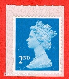 """2nd Class Bright Blue. Walsall """"18"""" """"MBIL"""" RM Backing Paper with alternate 2 lines inverted: Backing paper N/A on used"""