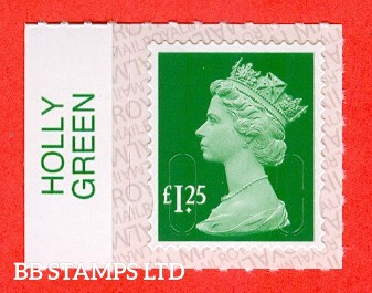 £1.25 Holly Green M18L Royal Mail printed backing paper with pairs of lines inverted.