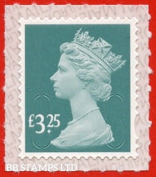 £3.25 Aqua Green printed by Walsall 'M21L'  printed backing paper with pairs of lines inverted