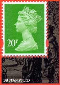 20p Bright Green Litho Cartor 'M21L' MPIL (from Industrial Revolutions DY39) (12.08.21)
