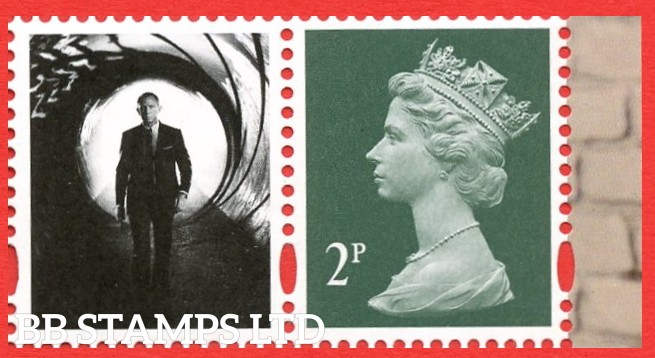 """2p Deep Green. Litho Cartor """"M19L"""" """"MPIL"""" From James Bond DY33 17.3.20"""