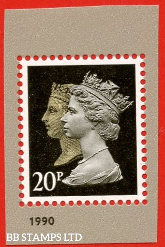 20p Brownish Black Double Head Gravure-Walsall from MS3965 (2017)