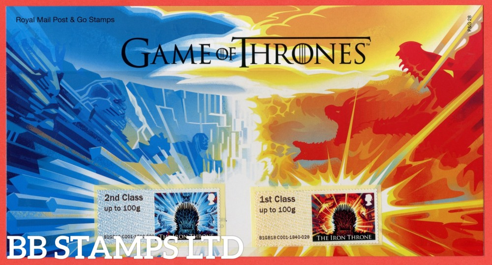 2018 Post & Go: Game of Thrones 2nd & 1st Class (set of 2) The Iron Throne. 6 x 1st Class Different Designs. (P&G 28).
