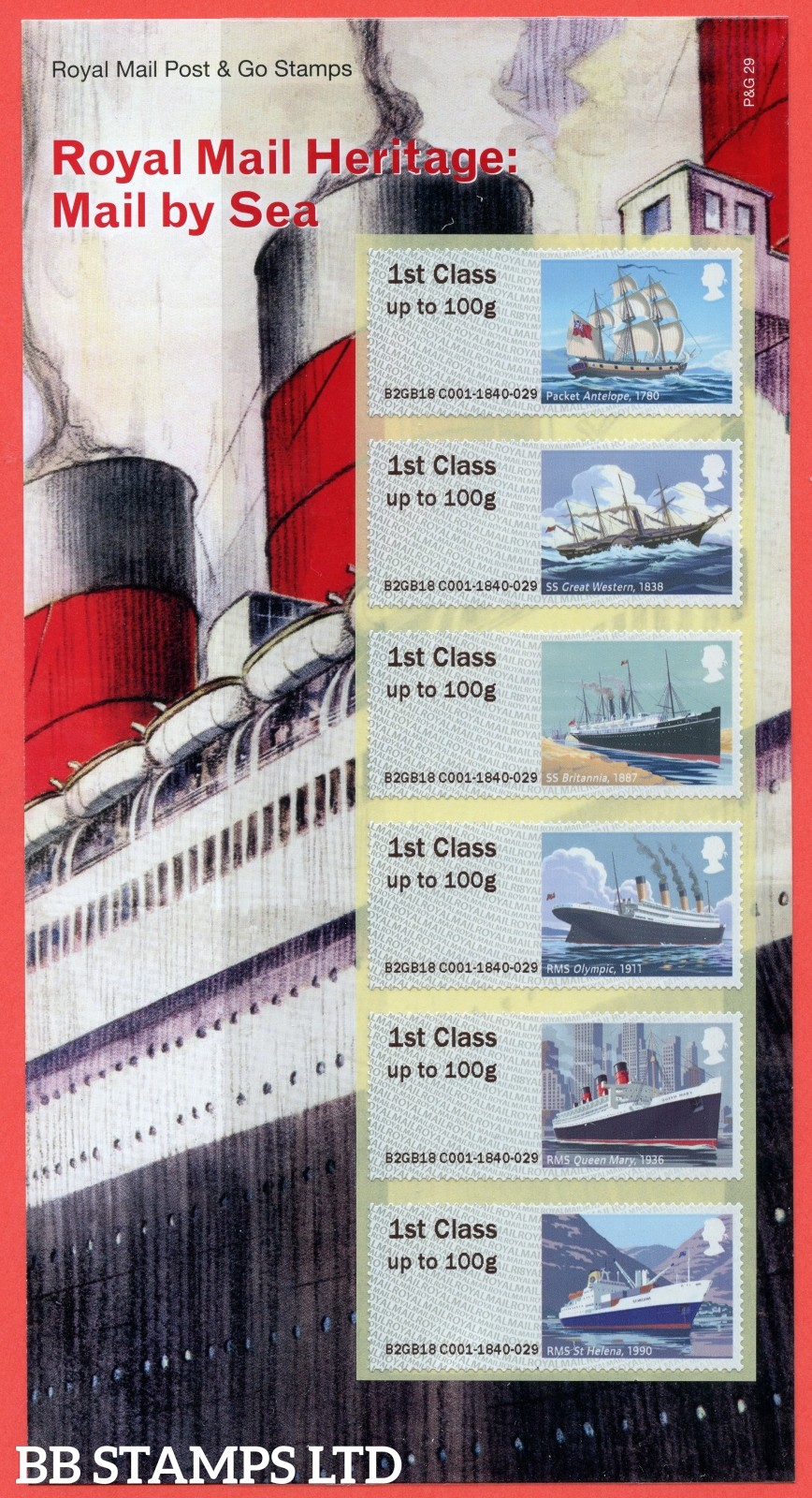2018 Post and Go: Ryal Mail Heritage ( Sea ). 6 x 1st Class Different Designs. (P&G 29)