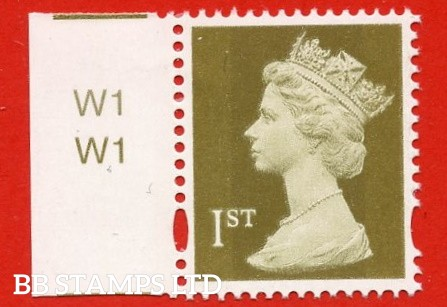 1st Class Gold (2 Bands). Printed by Walsall, New Head, Blue Phosphor. Sheet