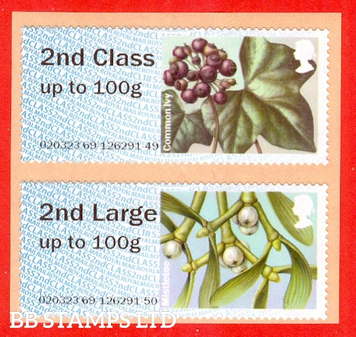 2018 Winter Greenery Type IIA CL18 2nd & 2nd Large (set of 2) Common Ivy & Mistletoe (variations will occur on this listing) (BK28,P8) (2019 SG Supplement page FS15)