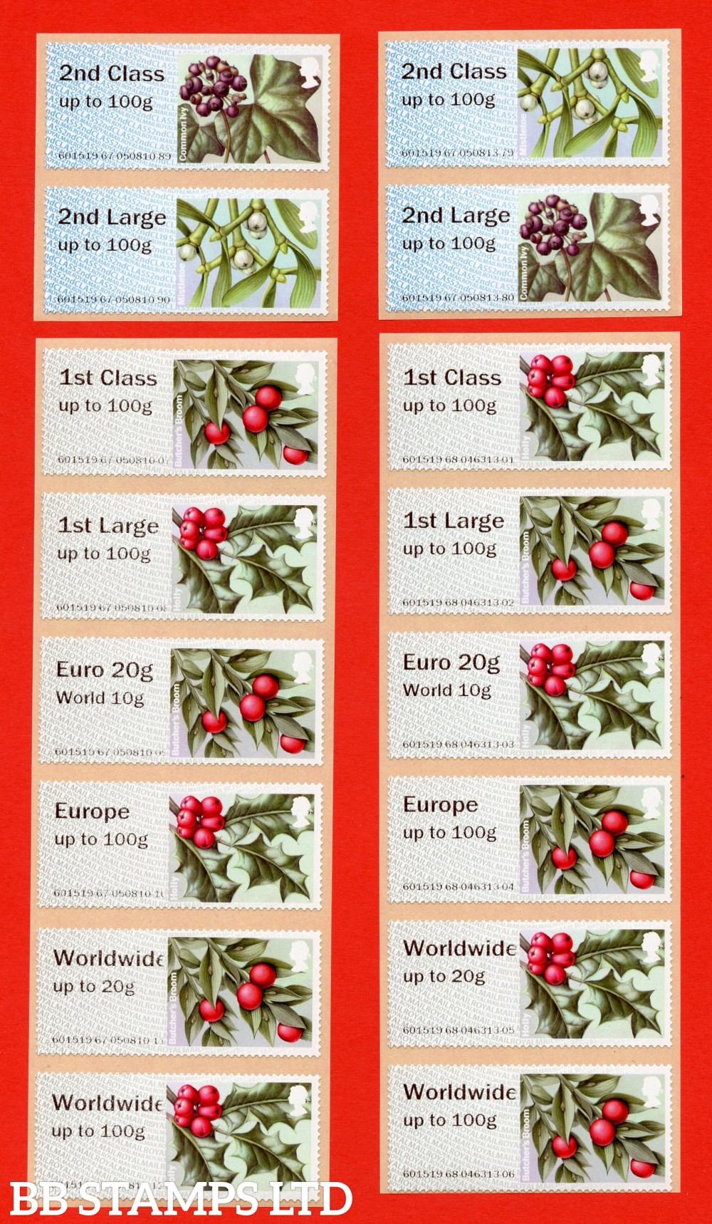 2017 Winter Greenery 2019 issue (2ndCLASS in background/greenish grey) 2nd - W/Wide 100g: full set of 16, Type IIA, CL19/R19Y, (BK29,P6)