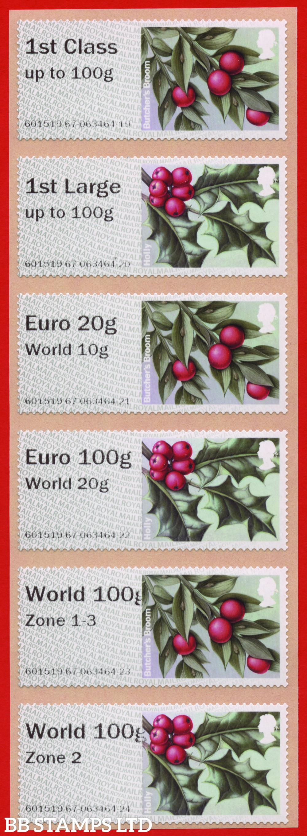 W/Greenery (greenish grey 2017 issue) (TIIA), set of 6 (designs may vary) with 01/09/20 new overseas stamps: 1st/1stL/Euro 20g World 10g, and 3 new values: Euro 100g World 20g, World 100g Zone 1-3 and World Zone 2: R19Y year code (BK30, P12)