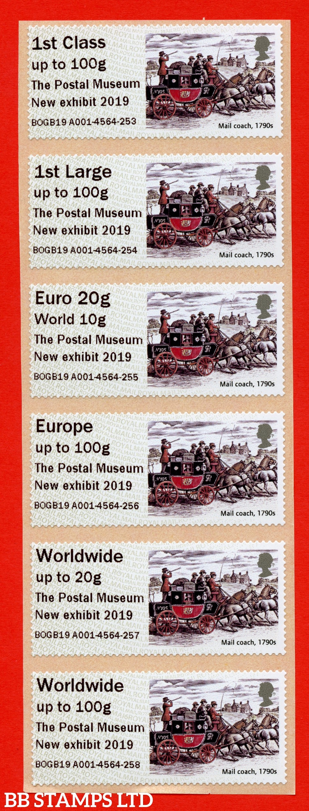 Mail Coach (2019): The Postal Museum New exhibit 2019, 1st - W/Wide 100g Type IIIA digitally printed: MA16 (set of 6) (BK28,P19)