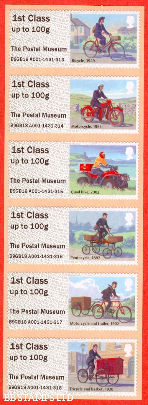 Royal Mail Heritage - Mail By Bike The Postal Museum 6 x 1st Class: Type IIIA R18