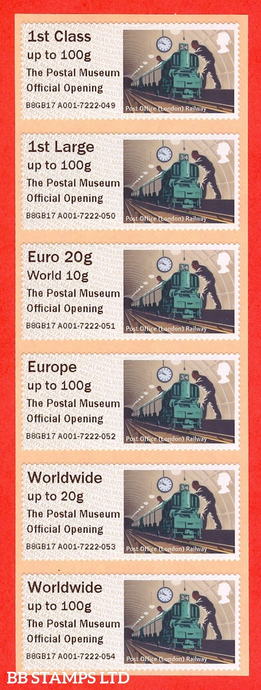 Underground Rail: Logo + The Postal Museum Official Opening 1st - W/ide 100g: MA17 Type IIIA (set of 6)
