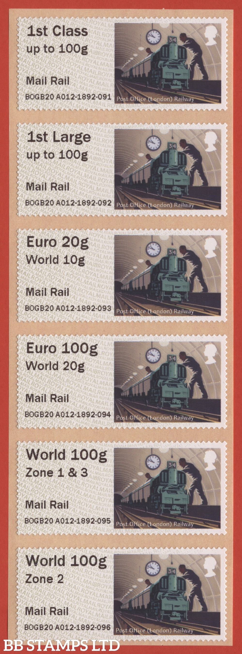 Underground Rail: Mail Rail, set of 6 (TIIIA) with new overseas stamps: 1st/1stL/Euro 20g World 10g, and 3 new values: Euro 100g World 20g, World 100g Zone 1 & 3 [with &; doesn't exist with hyphen] and World Zone 2: MA18 year code (BK30, P8)