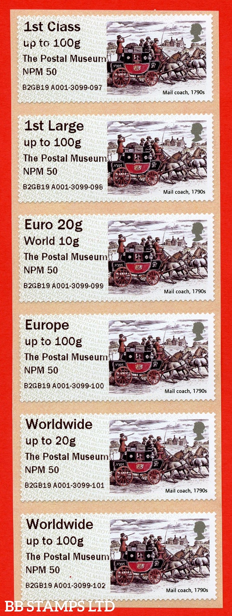 2019 Royal Mail Heritage Mailcoach The Postal Museum NPM 50 -(Set of 6) 1st - W/Wide 100g Type IIIA (BK28,P10)