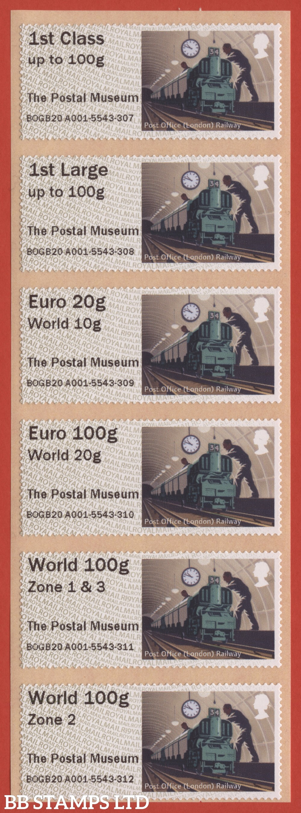 Underground Rail: The Postal Museum, set of 6 (TIIIA) with new overseas stamps: 1st/1stL/Euro 20g World 10g, and 3 new values: Euro 100g World 20g, World 100g Zone 1 & 3 [with &; doesn't exist with hyphen] and World Zone 2: R19Y year code (BK30, P7)