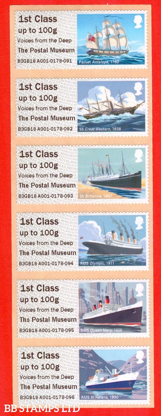 2018 Mail By Sea - Voices from the Deep The Postal Museum: Type IIIA R18 6 x 1st Class (BK28,P9)