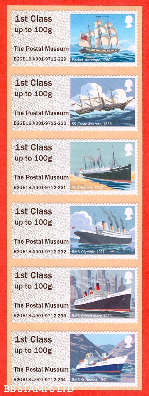 Royal Mail Heritage Mail By Sea: The Postal Museum (6 x 1st Class) R18: Type IIIA