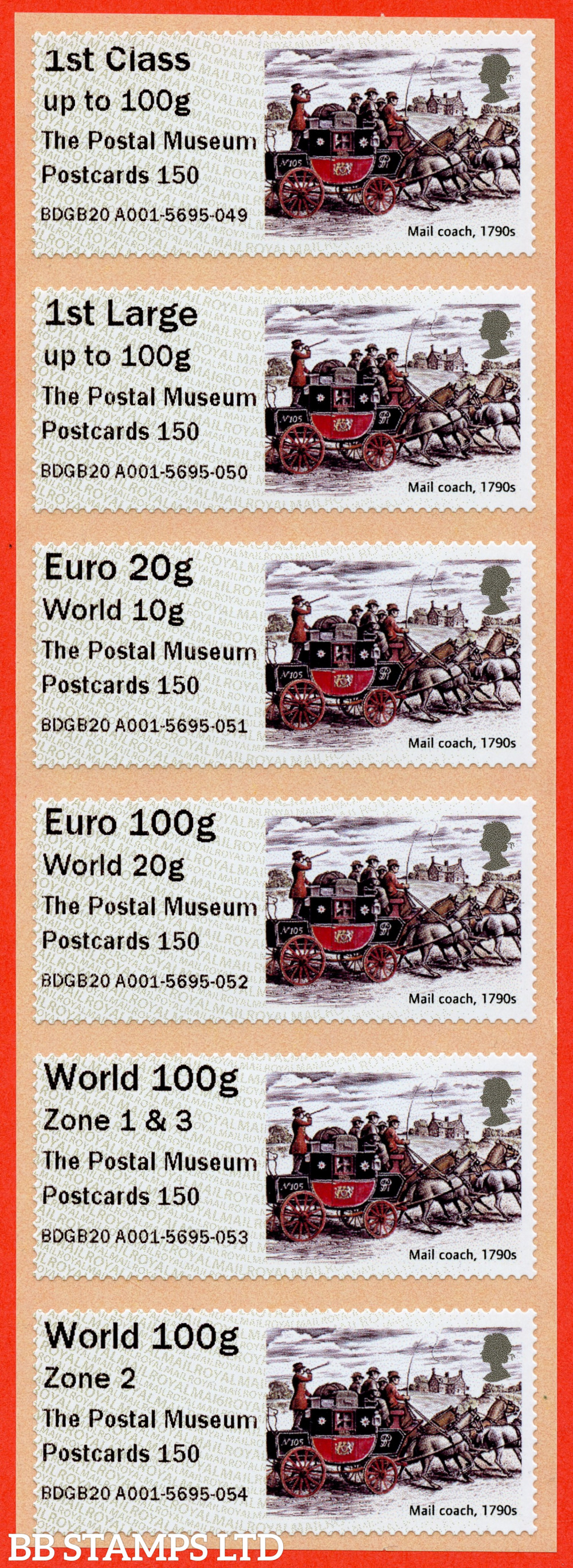 FS151/153, FSvar x3. Mail Coach (2020): The Postal Museum Postcards 150, set of 6 with new overseas stamps: 1st/1stL/Euro 20g World 10g, and 3 new values: Euro 100g World 20g, World 100g Zone 1 & 3, and World Zone 2 (TIIIA, digitally printed): MA16 year code. (BK31 P3)