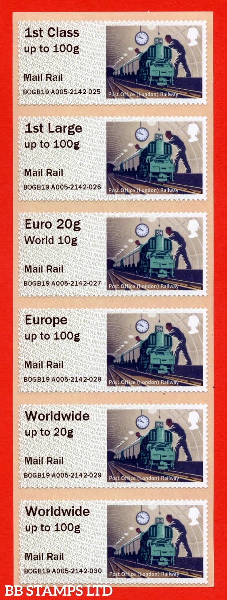 Underground Rail: Mail Rail, 1st - W/Wide 100g Type IIIA digitally printed: R19Y (set of 6) (BK29,P4)