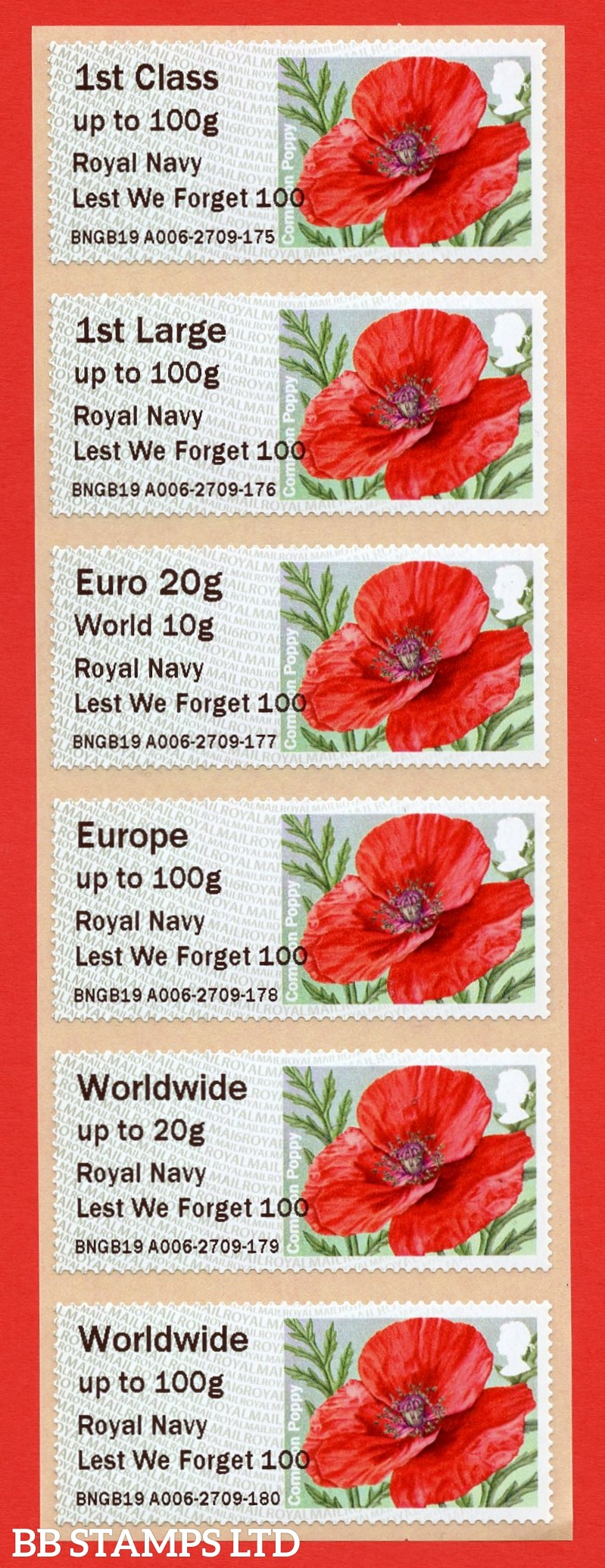 Poppy Royal Navy Lest We Forget 100 1st - W/Wide 100g MA16: TIIIA (BK29,P10)
