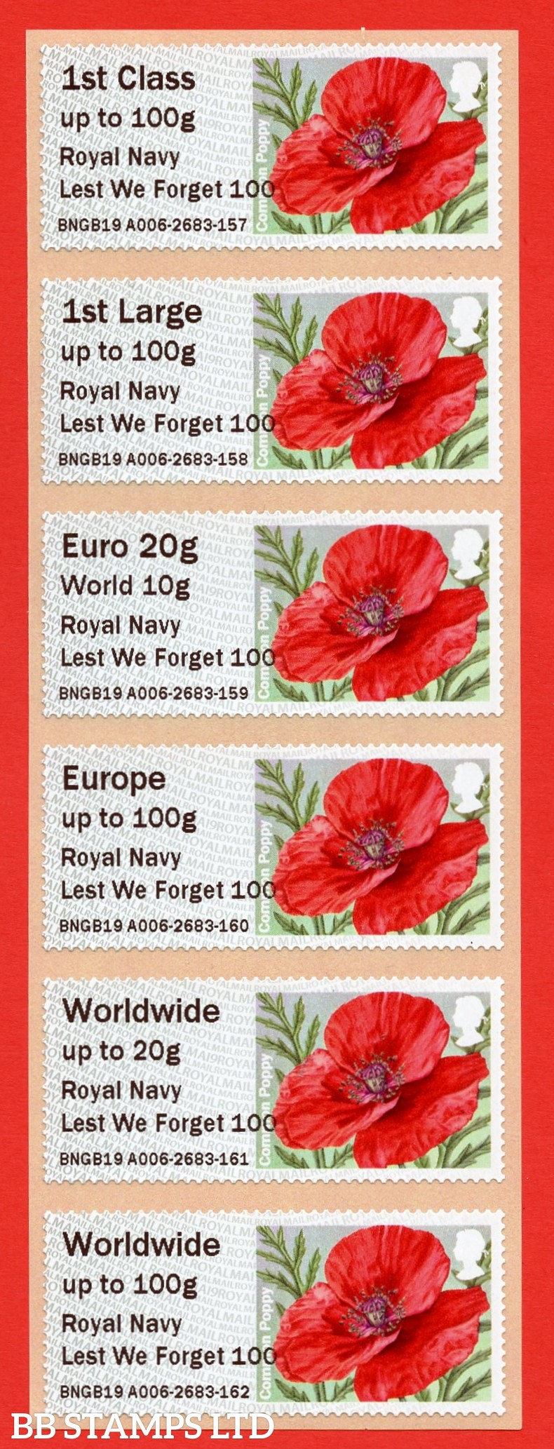 Poppy Royal Navy Lest We Forget 100 1st - W/Wide 100g MA19: TIIIA (BK29,P11)
