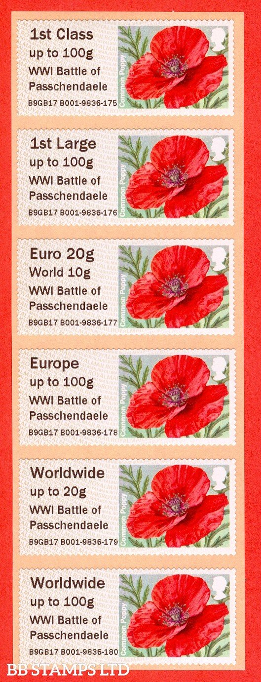 Poppy 2017 WW1 Battle of Passchendaele: 1st - W/Wide 100g (set of 6) Type IIIA