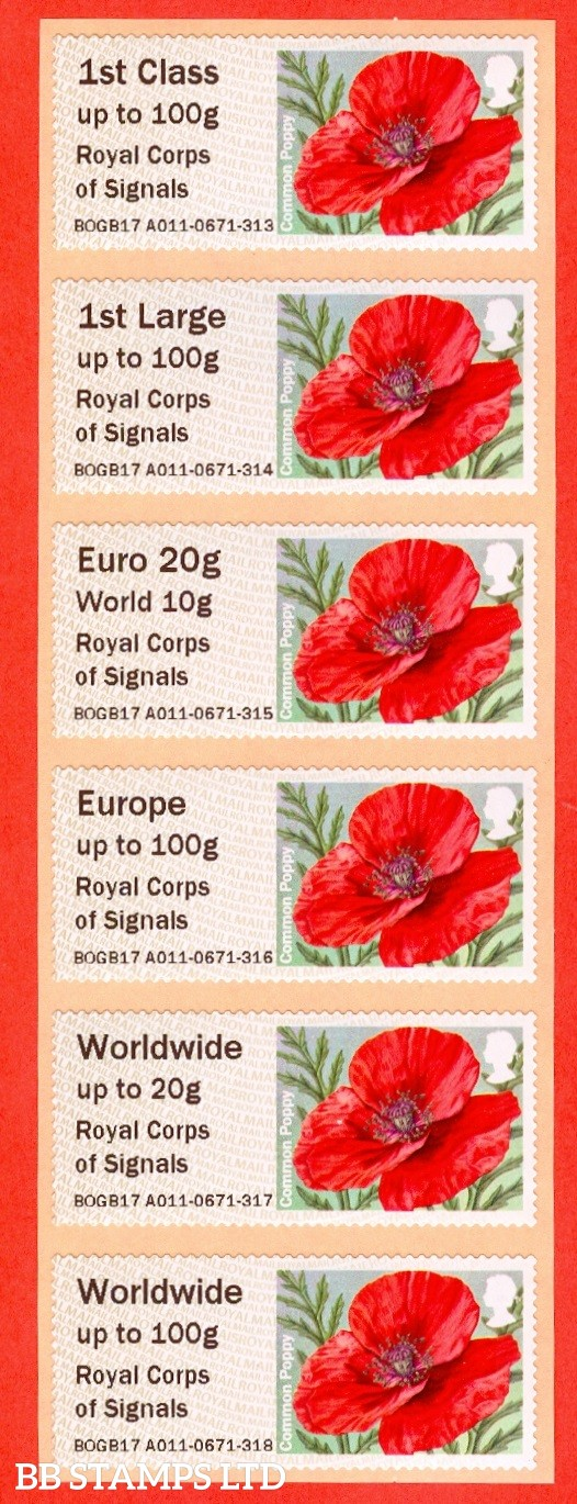 Poppy Royal Corps of Signals Type IIIA: MA15 1st - W/Wide 100g (set of 6)