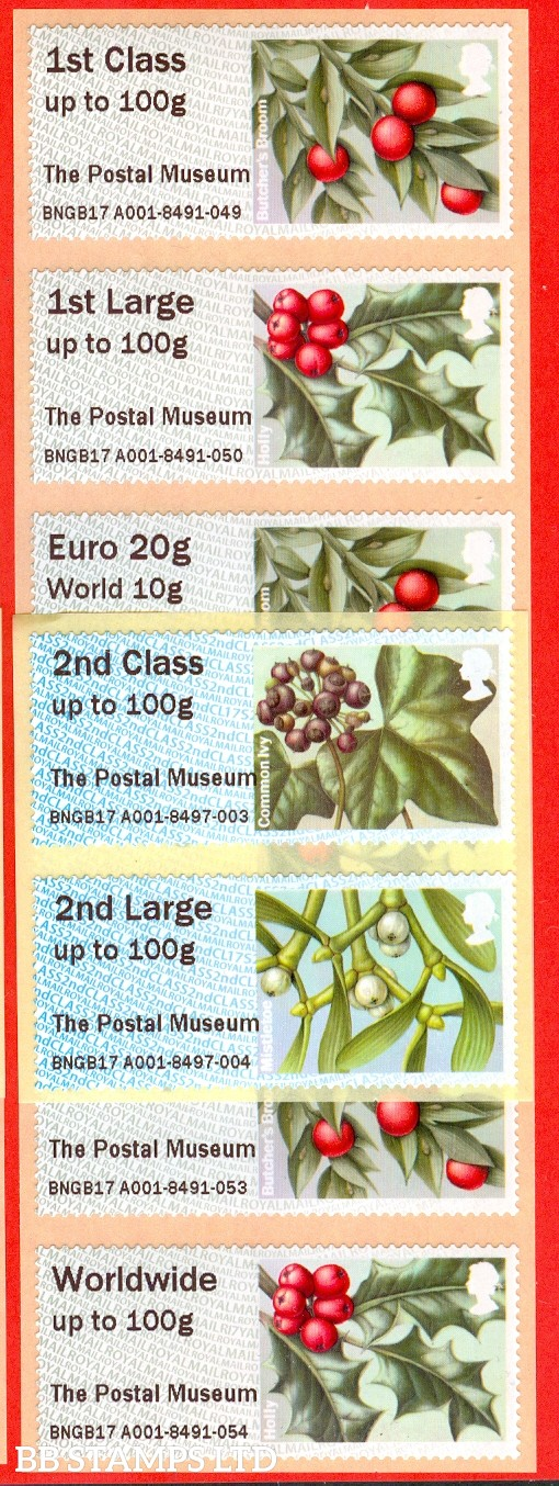2017 Winter Greenery The Postal Museum: Type IIIA 2nd - W/Wide 100g set of 8 (labels may vary)
