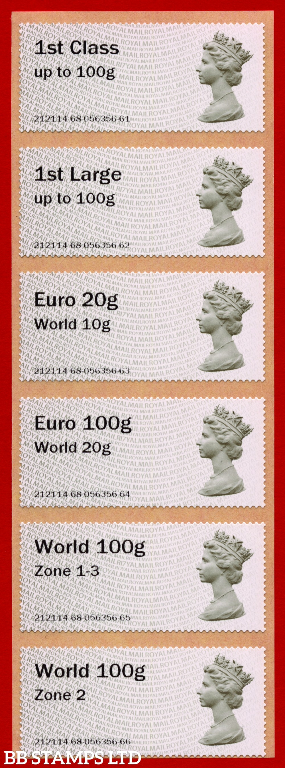 Machin (TIIA), set of 6 with 01/09/20 new overseas stamps: 1st/1stL/Euro 20g World 10g, and 3 new values: Euro 100g World 20g, World 100g Zone 1-3 and World Zone 2: with R17Y year code (BK30 P10)