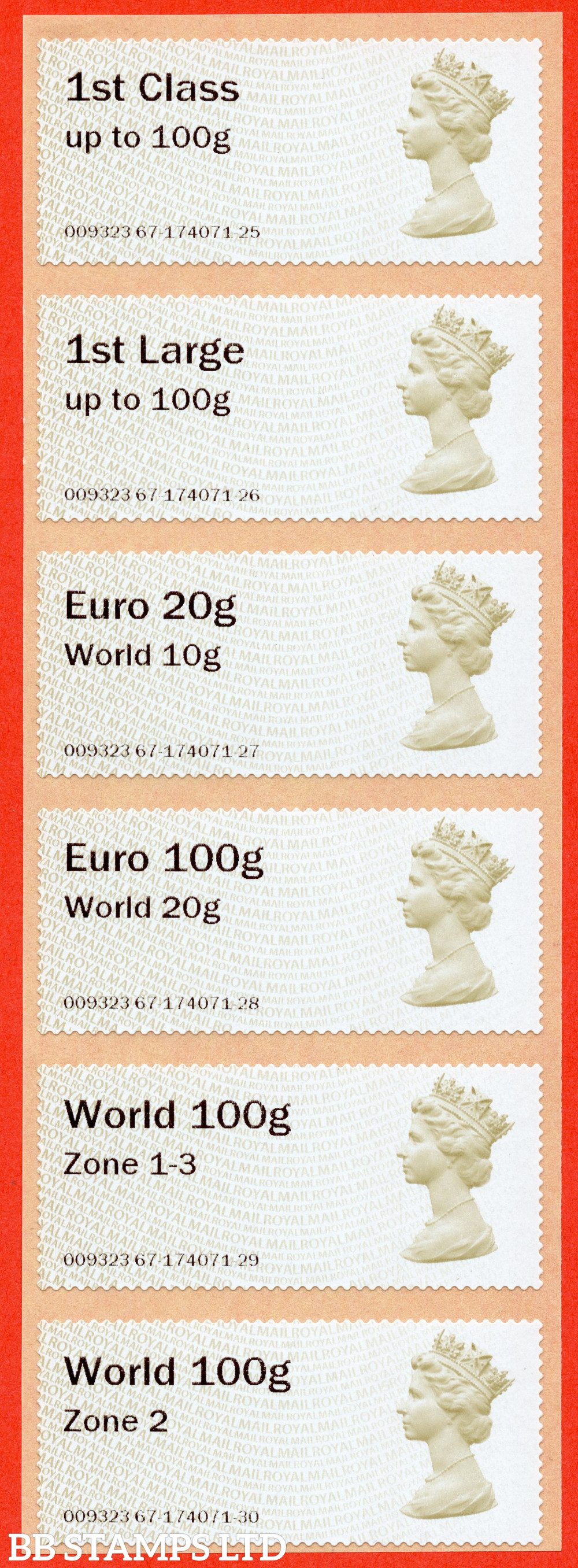 Machin (TIIA), set of 6 with 01/09/20 new overseas stamps: 1st/1stL/Euro 20g World 10g, and 3 new values: Euro 100g World 20g, World 100g Zone 1-3 and World Zone 2: with MA15 year code (BK31 P7)