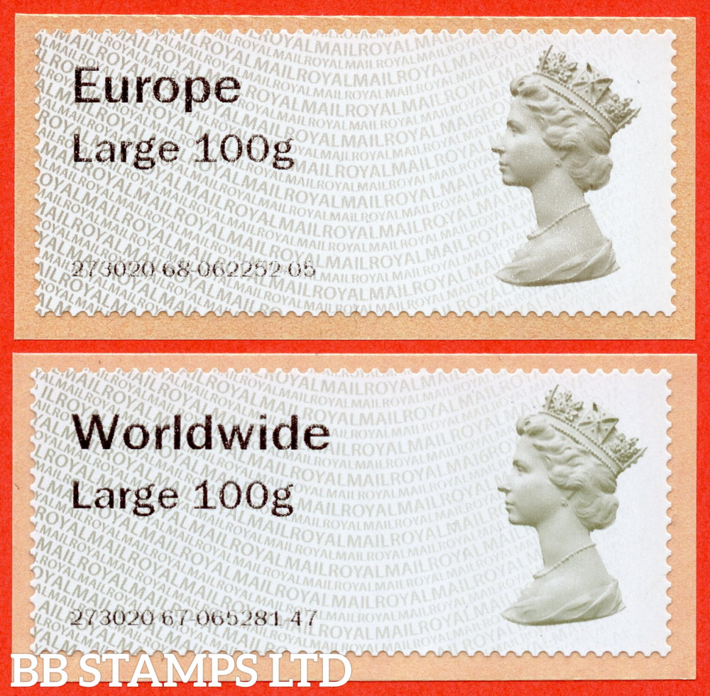 Machin (TIIA), Europe Large 100g, & Worldwide Large 100g, first introduced on 01/01/21: with MA16 year code (2 stamps) (BK31 P9)