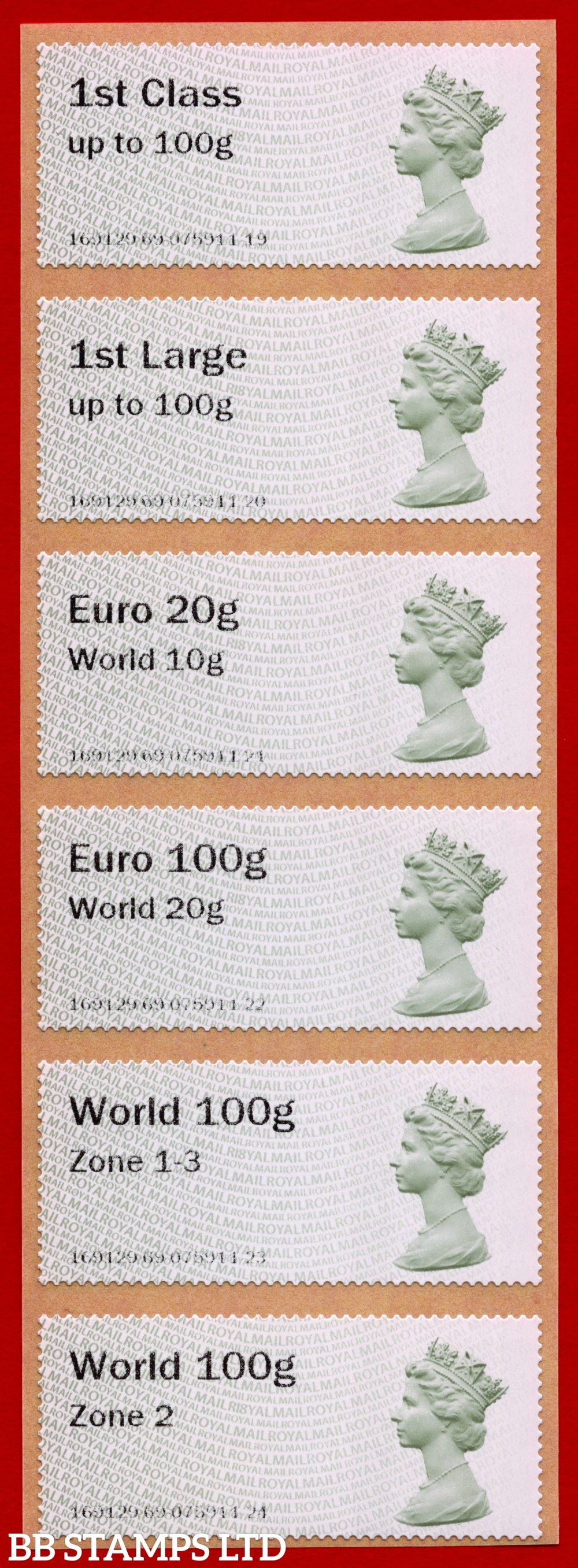 Machin (TIIA), set of 6 with 01/09/20 new overseas stamps: 1st/1stL/Euro 20g World 10g, and 3 new values: Euro 100g World 20g, World 100g Zone 1-3 and World Zone 2: with R18Y year code (BK30 P11)