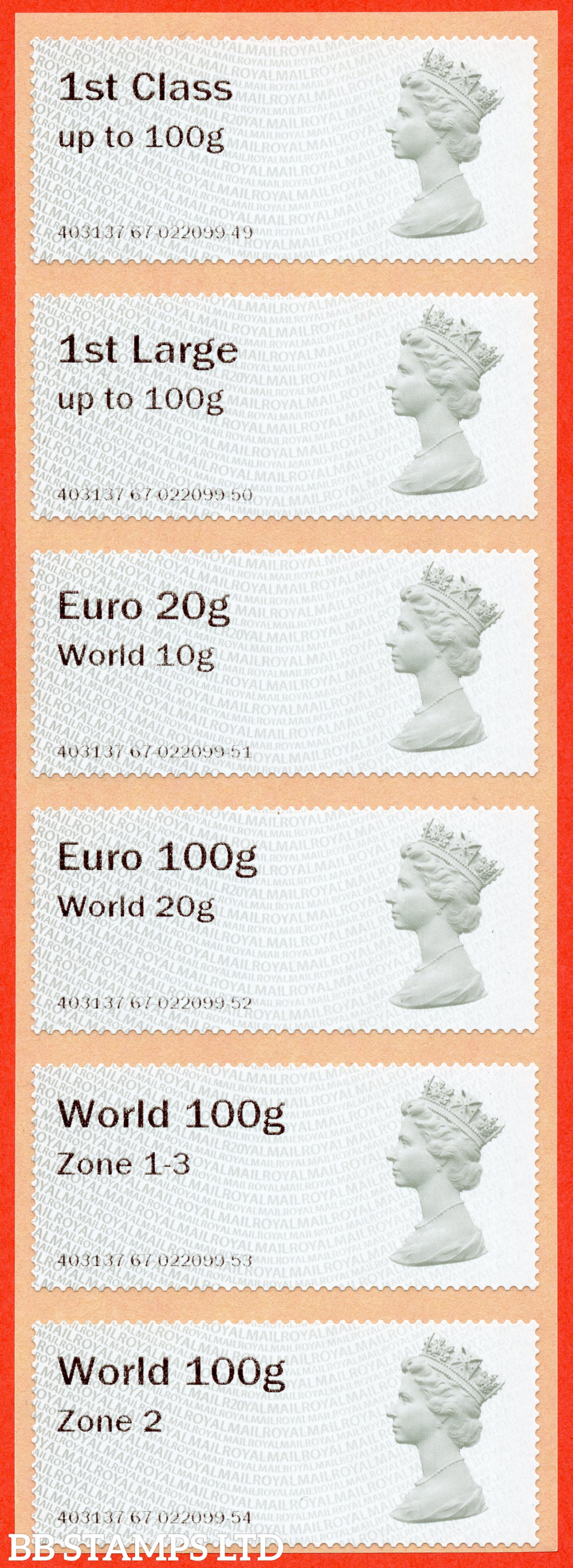 Machin (TIIA), set of 6 with 01/09/20 new overseas stamps: 1st/1stL/Euro 20g World 10g, and 3 new values: Euro 100g World 20g, World 100g Zone 1-3 and World Zone 2: with R20Y year code (BK31 P2)