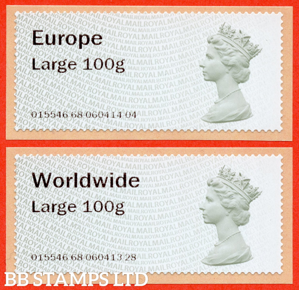 Machin (TIIA), Europe Large 100g, & Worldwide Large 100g, first introduced on 01/01/21: with R18Y year code (2 stamps) (BK31 P11)