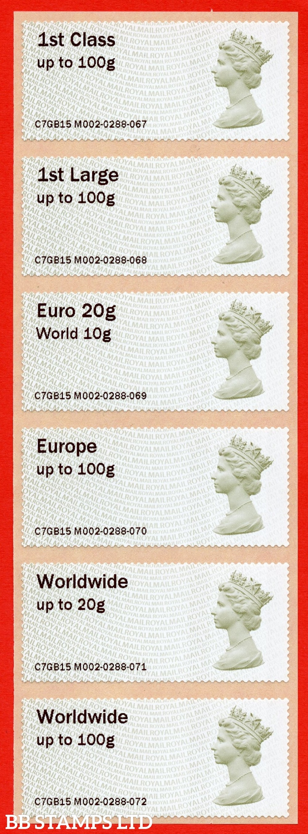 1st - Worldwide 100g with dual value (set of 6) Type IIIA NO DATE (BK1,P10)